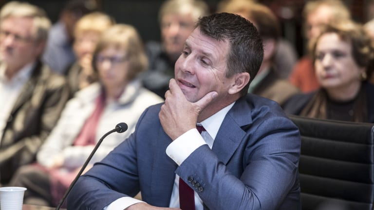 Former premier Mike Baird gives evidence to the upper house inquiry this week.