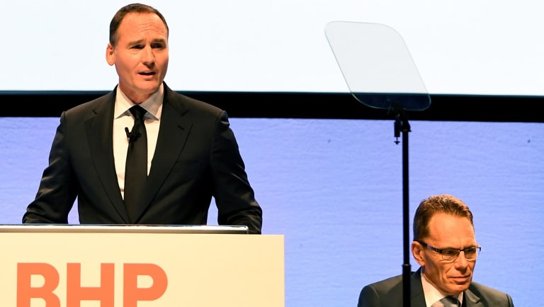 BHP chairman Ken MacKenzie (left) and chief executive Andrew Mackenzie faced a shareholder resolution at the company's AGM in November.