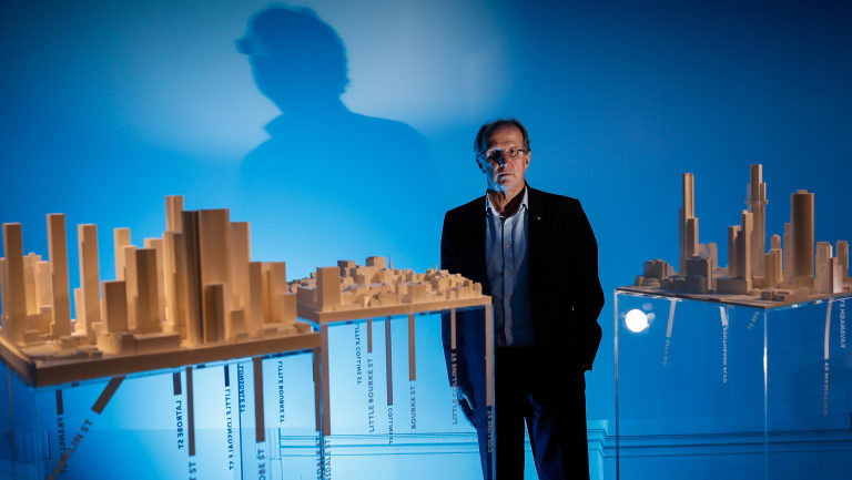Rob Adams with architectural models of Melbourne produced for his new exhibition on the city.