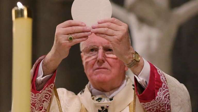 Archbishop Denis Hart celebrating Easter Mass at St Patrick's Cathedral in 2017.
