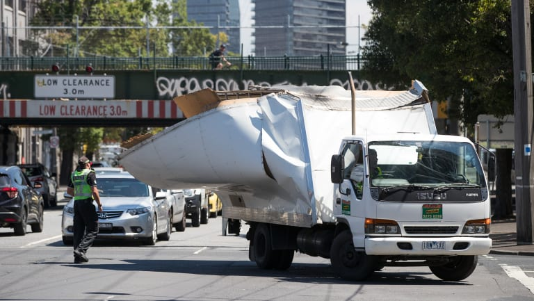 Another truck has lost its battle against the Montague Street bridge.