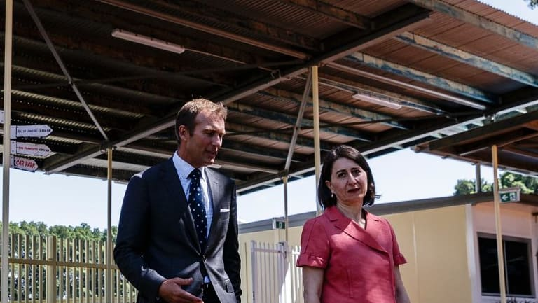 Premier Gladys Berejiklian and Education Minister Rob Stokes at a temporary school in Ultimo.