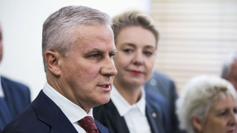 The new leader of the National Party, Michael McCormack, with deputy  Bridget McKenzie, after Monday morning's party room meeting.
