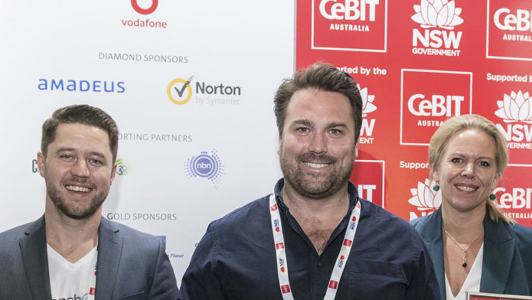 The winners of the 2018 CeBIT PitchFest (from left): Tim Walmsley (BenchOn), Paul Weingarth (Ping Data) and Jenny Atkinson (Littlescribe).