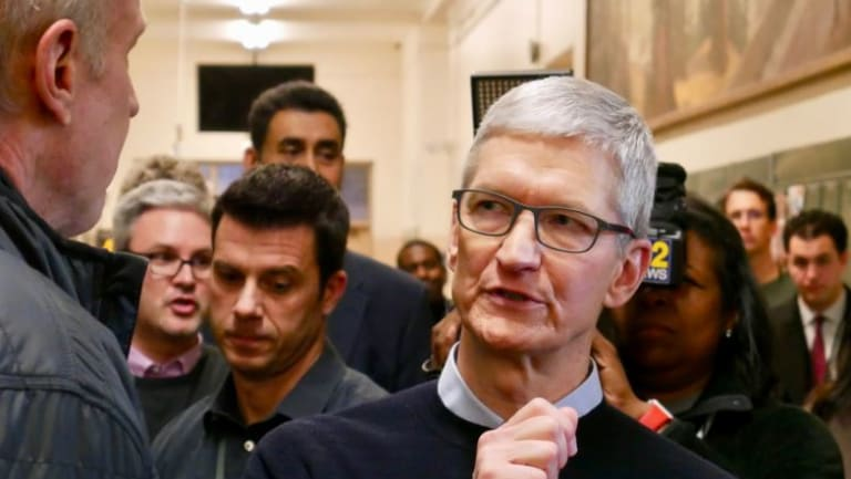 Apple chief executive Tim Cook at the Apple event in Chicago.
