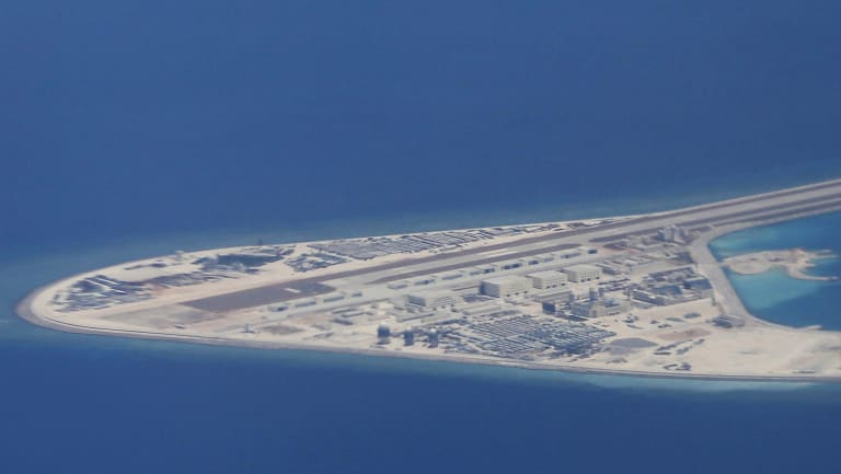 An airstrip, structures and buildings on China's artificial Subi Reef in the Spratly chain of islands in the South China Sea.