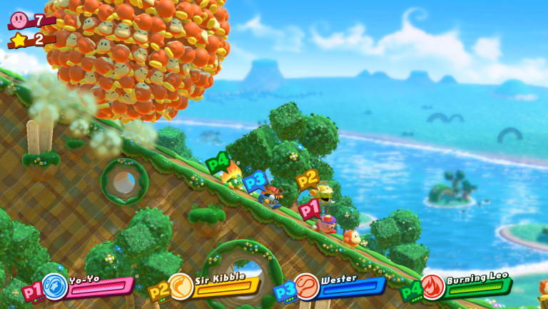 Our heroes are chased by a ball of Waddle Dees. Because why not.