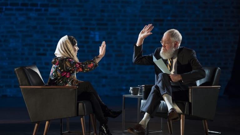 Nobel Peace Prize laureate Malala Yousafzai with David Letterman.
