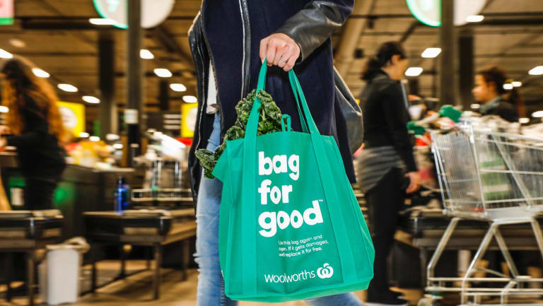 Woolies shoppers are being offered alternatives to single-use bags, as are other outlets.