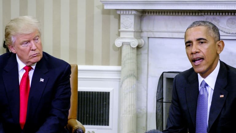 Barack Obama and Donald Trump in the Oval Office on November 10, 2016.