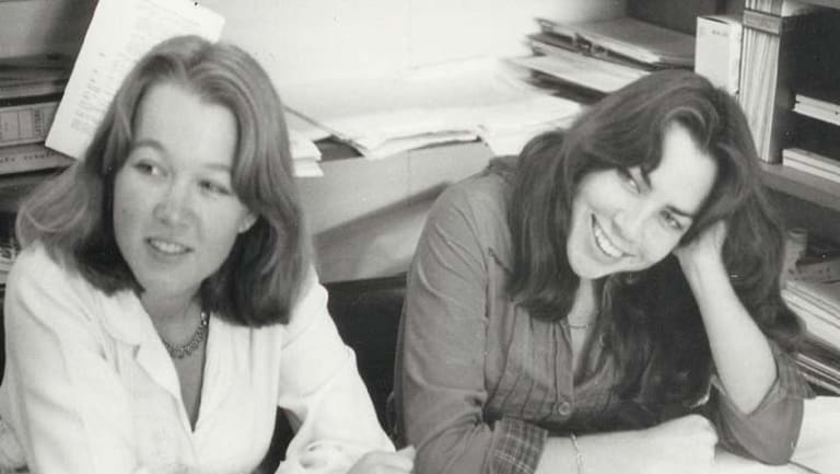 Gabrielle Carey and Kathy Lette, aged 19 and in the midst of Puberty Blues success.