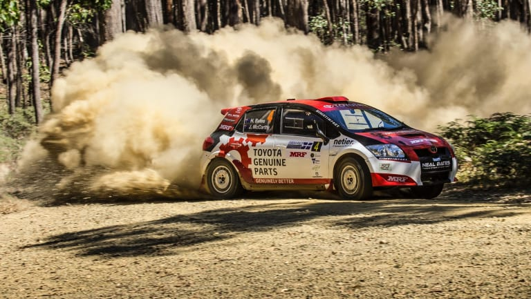 Harry Bates at the Eureka Rally last year as part of the Australian Rally Championship.