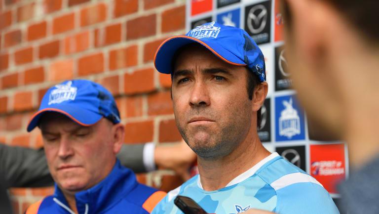 North's VFL coach David Loader and senior coach Brad Scott.
