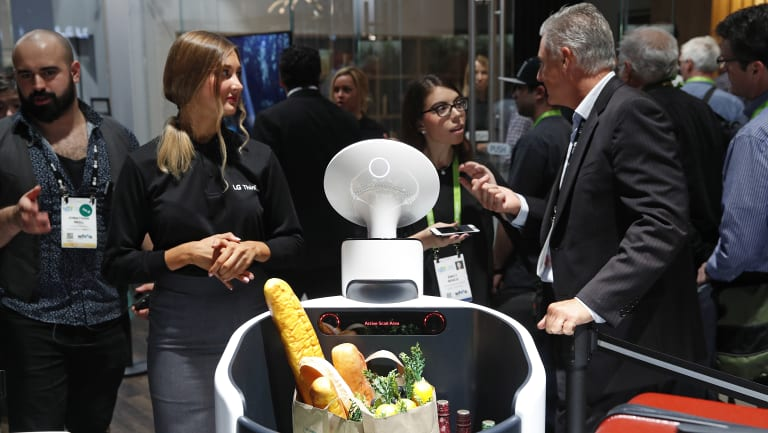 The Cloi shopping cart robot on display at the LG booth during CES International conference in Las Vegas.