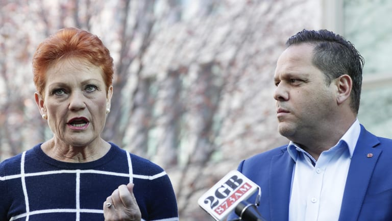 One Nation senators Pauline Hanson and Peter Georgiou address the media.