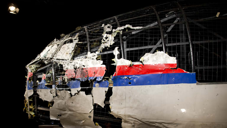 The reconstructed wreckage of Malaysia Airlines Flight MH17
