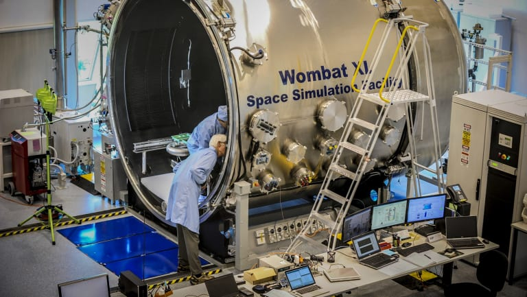 The space simulator at the Australian National University's Advanced Instrumentation Technology Centre at Mt Stromlo. The ACT space industry already employs around 2000 people.