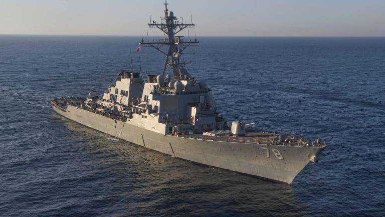 A US Navy destroyer.