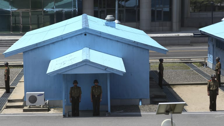 North Korean soldiers stand guard at the truce village of Panmunjom, North Korea.
