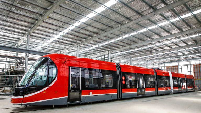 Canberra's first light rail vehicle at its depot in Mitchell.