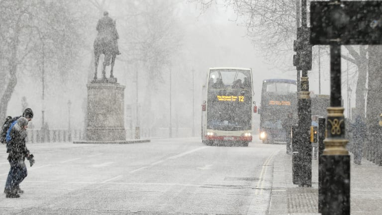 Snow blanketed Whitehall in central London.