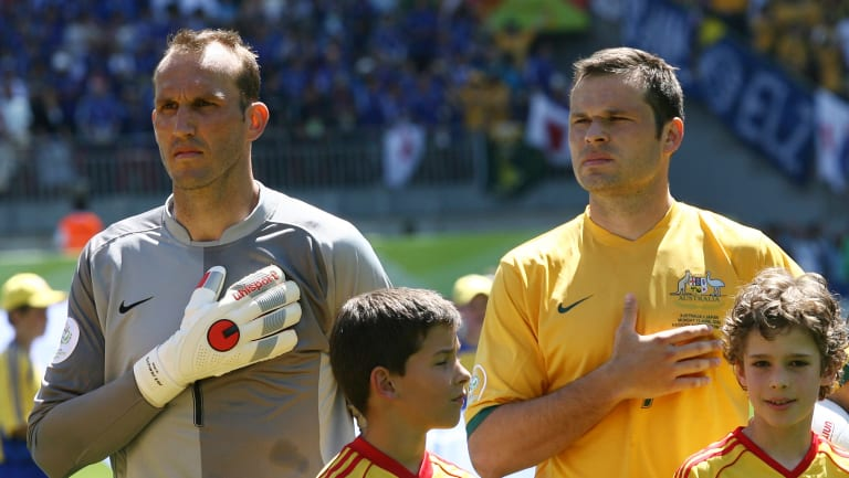 Confident: Mark Schwarzer, left, with captain Mark Viduka in the 2006 World Cup.