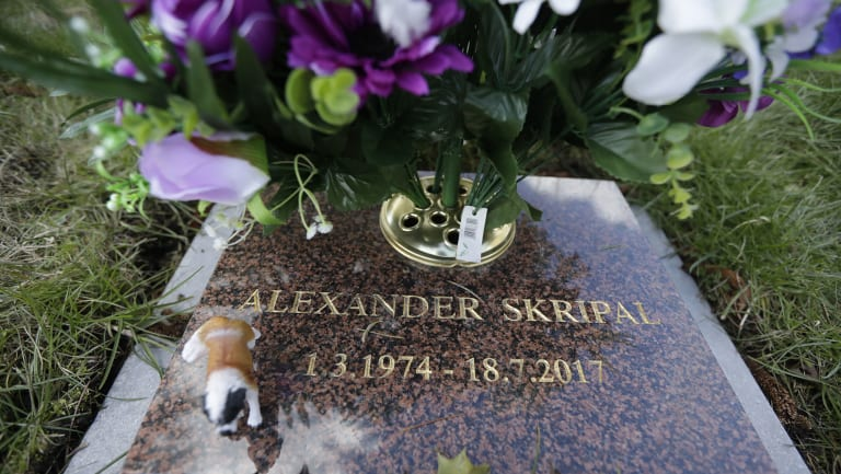 The cremation memorial stone of Alexander Skripal, son of former Russian double agent Sergei Skripal, in Salisbury.