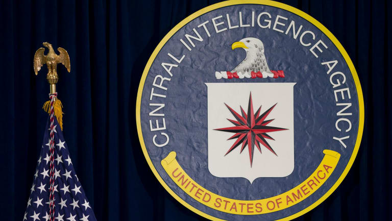 The seal of the Central Intelligence Agency at CIA headquarters.