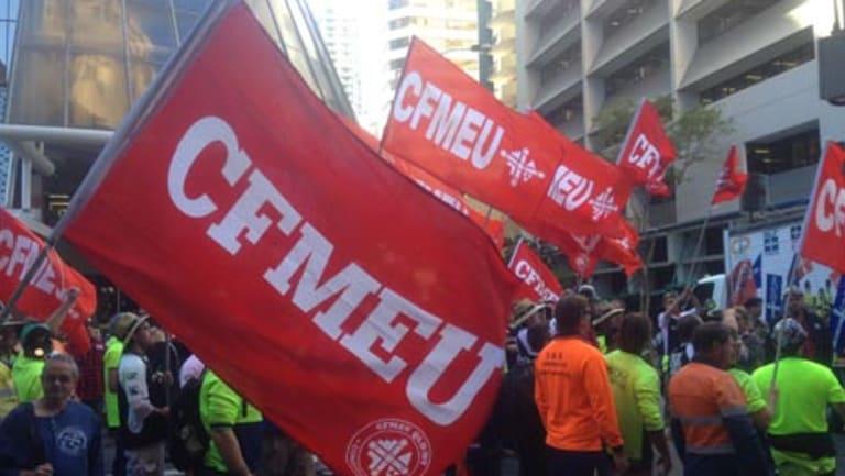 The CFMEU march through the Brisbane CBD.