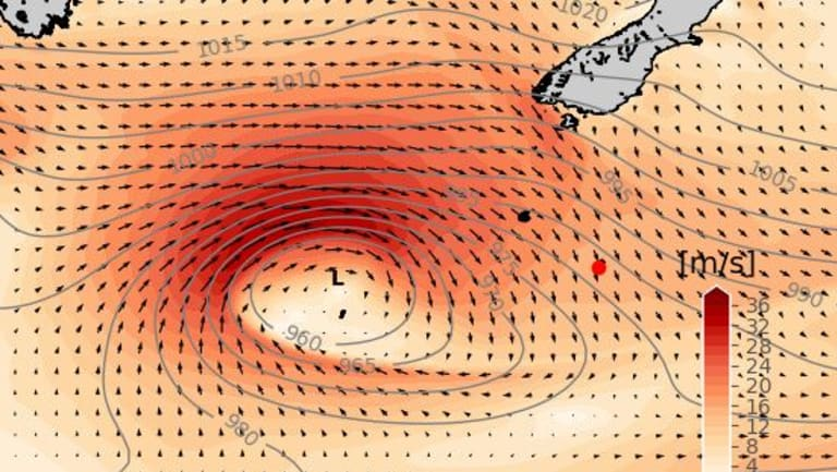 An intense, fast-moving low-pressure system helped stir up the record-breaking wave. (Red dot denotes buoy location.)