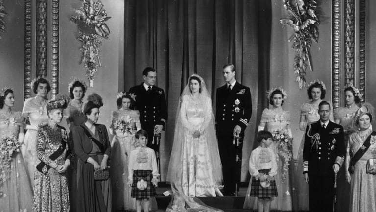 The wedding party of the then Princess Elizabeth, now Queen, and the Duke of Edinburgh, Prince Phillip.