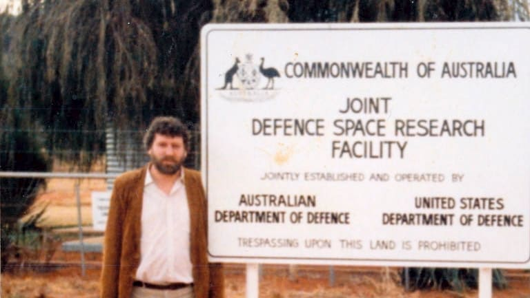 Des Ball at the entrance to Pine Gap in 1984.