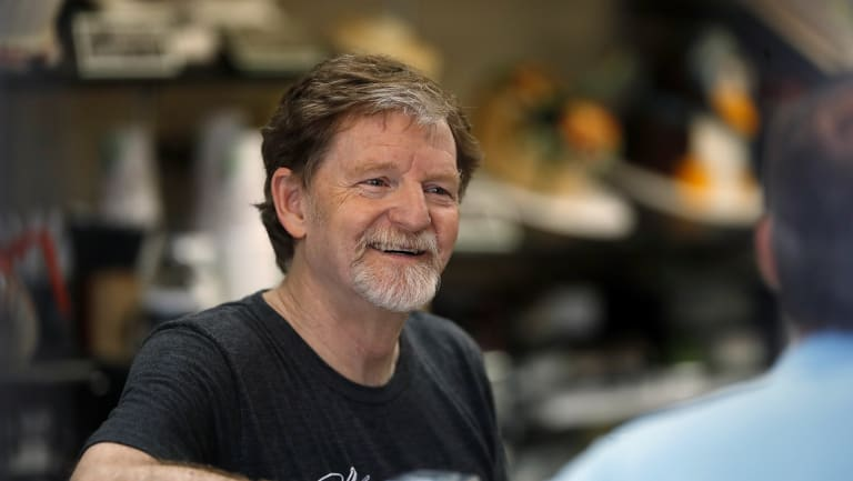 Baker Jack Phillips, owner of Masterpiece Cakeshop, back at his shop on Monday after winning the Supreme Court case.