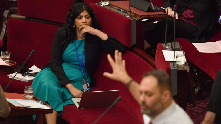 Greens leader Samantha Ratnam (left) listens as Labor's Philip Dalidakis defends the Apple store in Parliament.