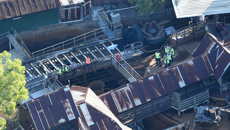 The accident scene at Dreamworld on the day of the tragedy.