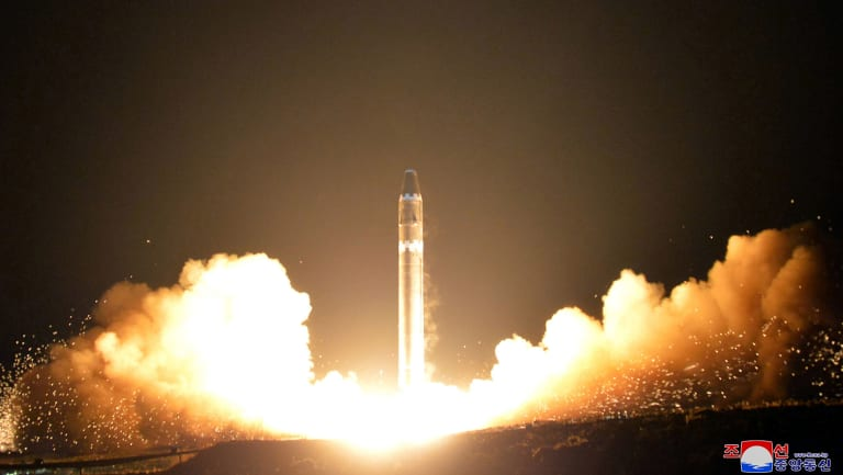 """November 29, 2017:  North Korea tests a Hwasong-15 intercontinental ballistic missile, and vows to never give up its nuclear weapons as long as the United States and its allies continue their """"blackmail and war drills""""."""