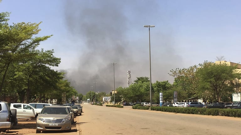 Smoke can be seen rising in the distance in central Ouagadougou.
