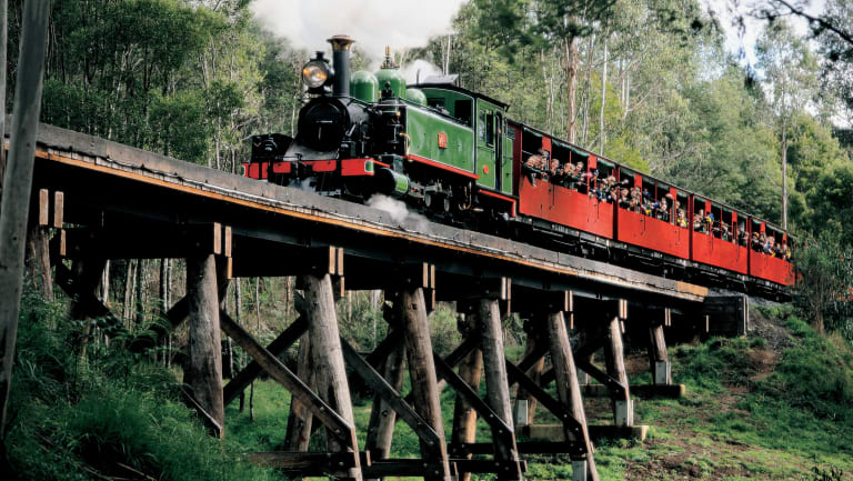 Puffing Billy will stop people hanging out of carriage windows.
