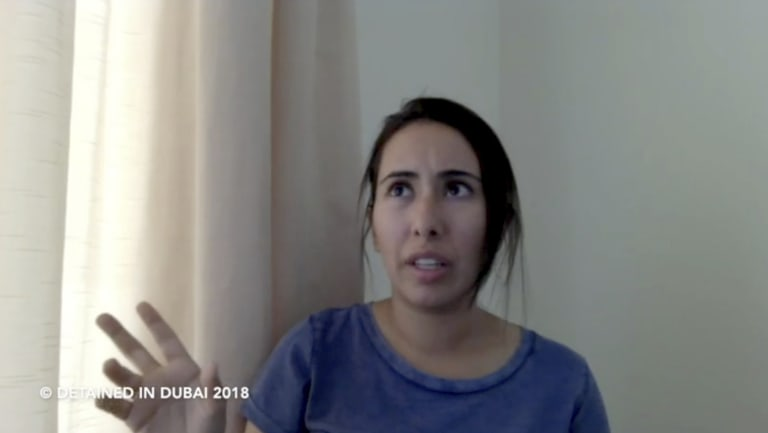 Sheikha Latifa bint Mohammed Al Maktoum speaking in a 40-minute video in which she says she's planning on fleeing the UAE.