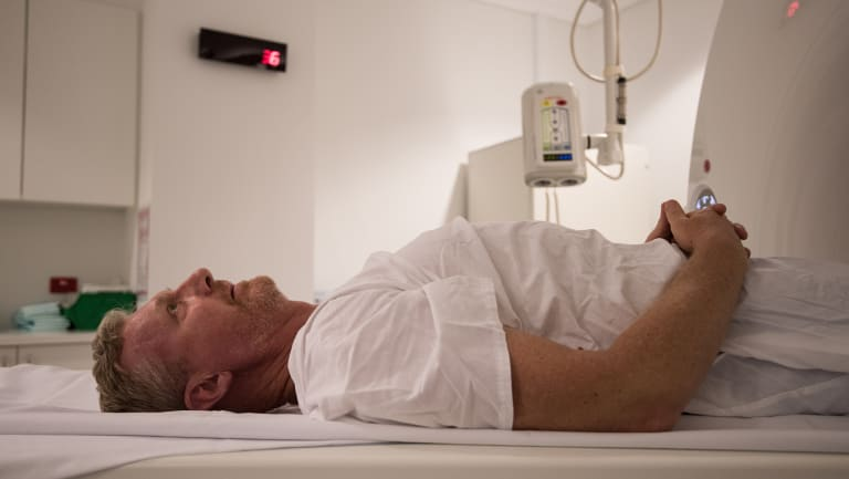 Daniel Gaffney having an MRI at Chris O'Brien Lifehouse cancer hospital.