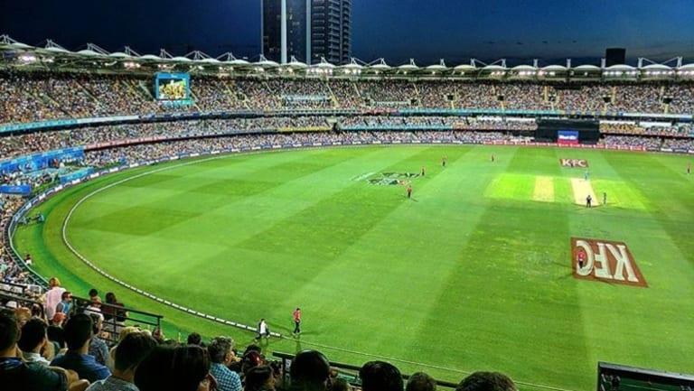 A sold-out Gabba stadium during the KFC Big Bash.