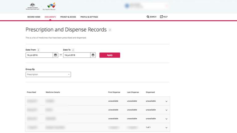 A screenshot of a person's My Health Record prescription data.
