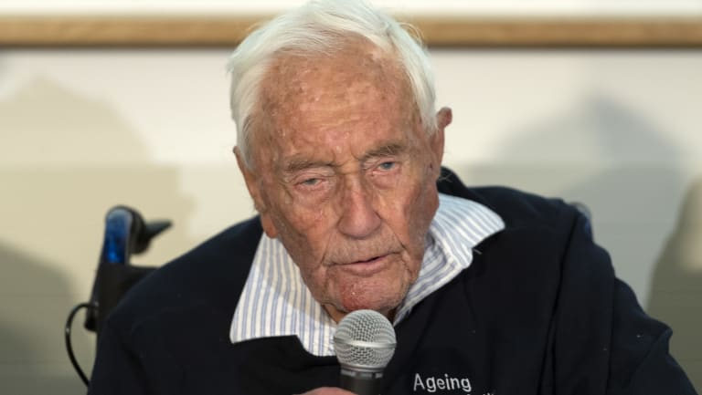 104-year-old Australian scientist David Goodall speaks during a press conference a day before his assisted suicide in Basel, Switzerland.