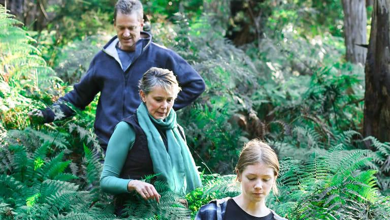 Mark Fancett, Michelle de la Coeur and their daughter Alex Fancett explore the proposed quarry site.