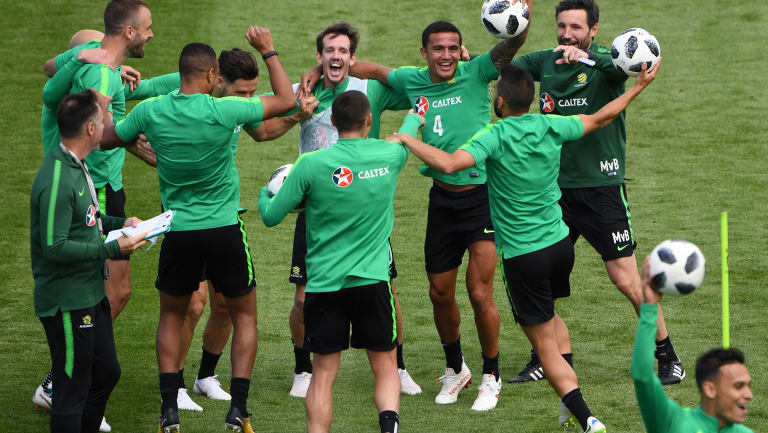 Upbeat: The Socceroos are enjoying home comforts in Kazan ahead of their World Cup opener against France.