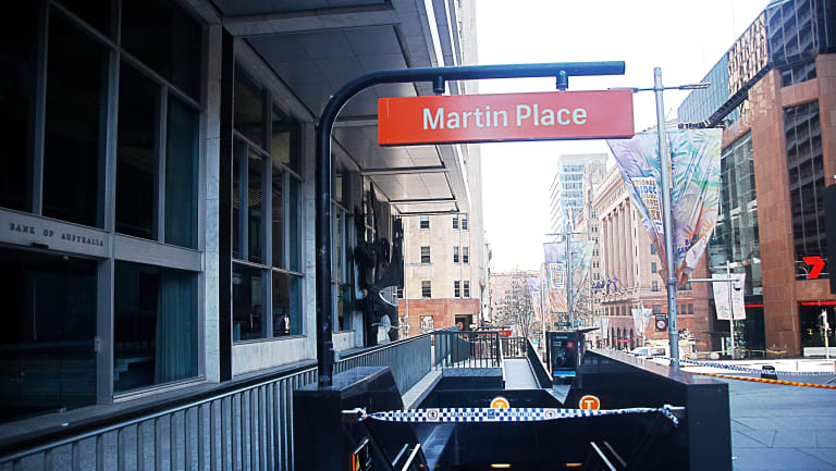 Martin Place railway station was cordoned off for much of the weekend after a gas leak caused by an excavator.