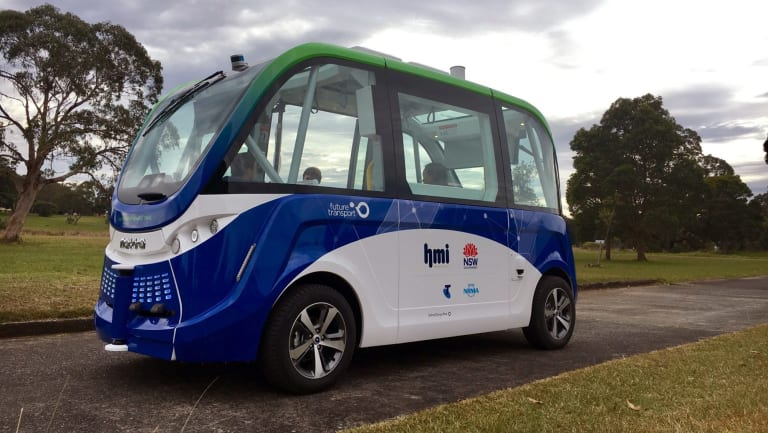 A driverless shuttle bus has been part of a trial at Sydney Olympic Park.