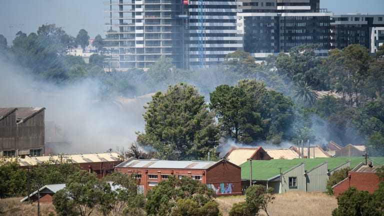 People were warned to stay away from the area due to the smoke and need for emergency services to access the site.