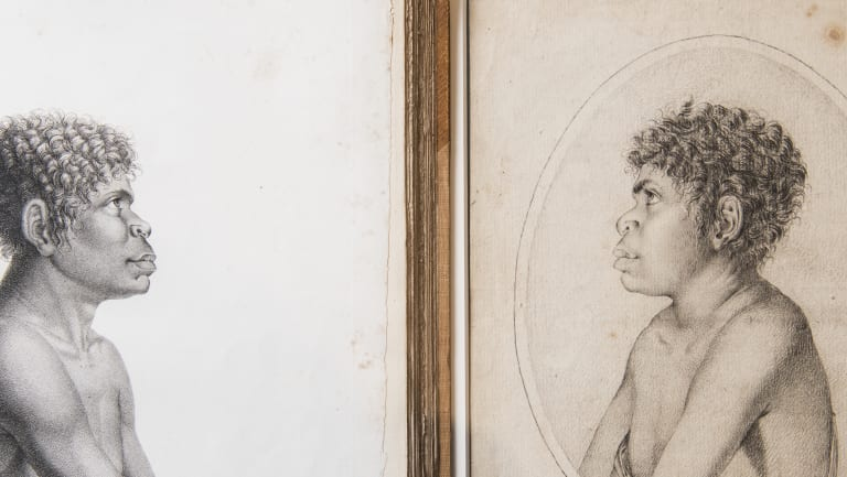 A rare drawing of Aboriginal teenager Toulgra (right), acquired by the State Library, and the version printed in a book.