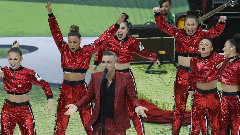 Robbie Williams at the opening ceremony of the World Cup.